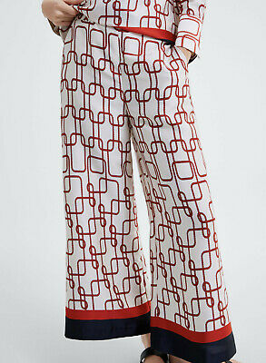 5f27737b ZARA NEW WOMAN Knot Print Trousers Pant High-Waist Ecru Xs-Xl Ref ...