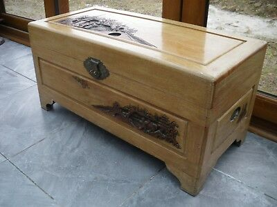 Carved and solid oriental camphor wooden Chest