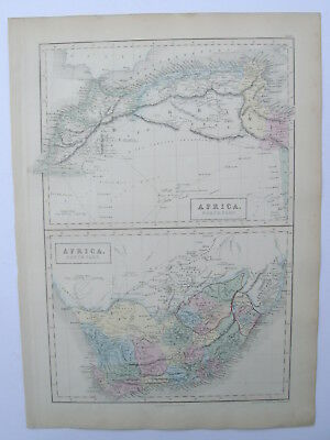 Map. Africa - North Part & South Part. Hand Coloured. Antique Original. 1856.