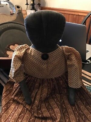 Early Style Primitive Black Doll Dressed in Antique Fabric