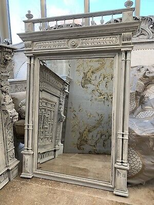 Large French Antique Carved Solid Wood Mirror Henri II Style