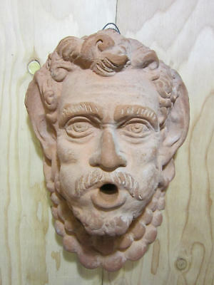 Vintage Bacchus Terracotta Clay Wall Fountain Mask * Ancient Greek Dionysus Mask
