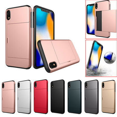 For iPhone XR 6.1inch Armor With Card Pocket Wallet Holder Slot Phone Case Cover