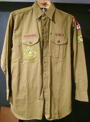 Vintage Boy Scouts Of America Long Sleeve Adult Shirt Patches Owasippe