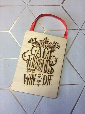 A Game Of Thrones Mini Wooden Hanging Keepsake Stark Lannister Geeky Gift Friend