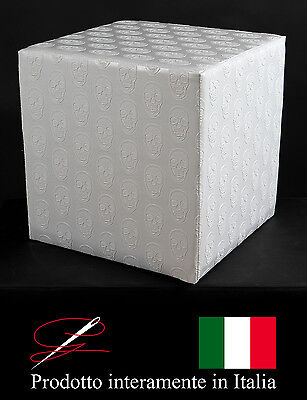 Pouff Pouf Puff Cubo Ecopelle Stampata Teschi Bianchi Made In Italy Idea Regalo