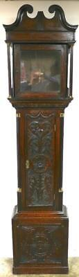 English Halifax Carved Swan Neck Longcase Yorkshire Grandfather Clock Case C1800