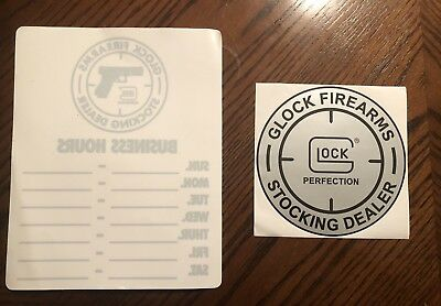 Glock Firearms Business Hours Sticker And Glock Perfection Sticker New Lot Of 2