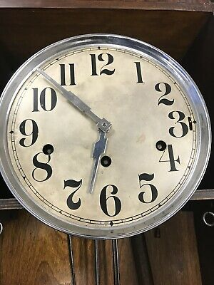 Original Art Deco Style Walnut & Rosewood Striking Wall Clock