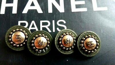 Lot of 12  Chanel round CC Logo Gold Black  Buttons 18 mm