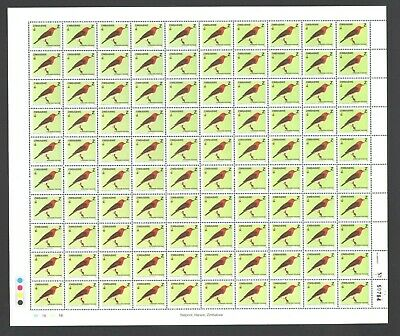 ZIMBABWE 2005 BIRDS Z value COMPLETE Sheet 100 stamps No. 50764 Control 1B  MNH