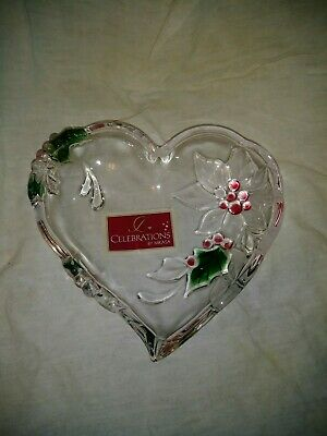 Mikasa Crystal Glass Holiday Bloom Christmas Poinsetta Heart Candy Dish.