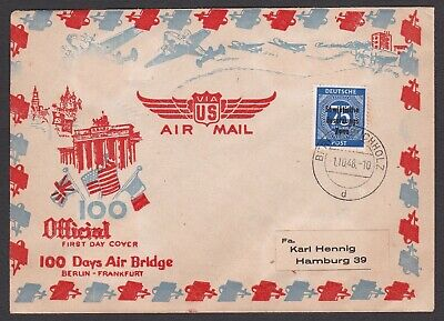 Germany. Berlin Air Lift.  Cover dated 1/10/1948  Berlin Buchholz to Hamburg.