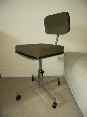 Original mid century vintage retro chrome and padded metal task or desk chair