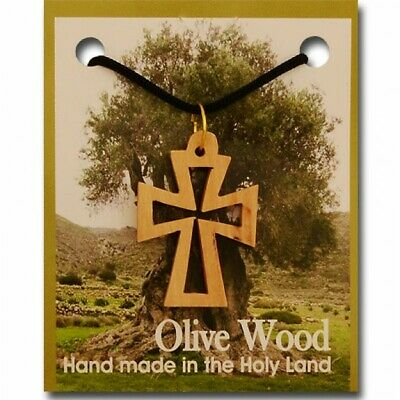 Pack of 10 Large Olive Wood Cut-Out Byzantine Cross Pendant with Necklace