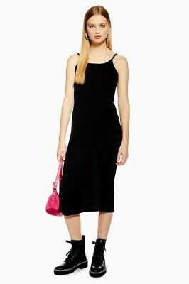 efc4a6ea0c TopShop NWT Black Women Sz12US 16UK Slip Ribbed Tank Slit Midi Dress  Nordstrom