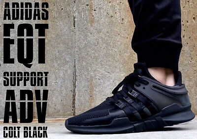 the latest 00a9d 56ce8 ADIDAS 2019 EQT Support ADV TRIPLE BLACK Core Turbo Running Trainers UK 8  SALE