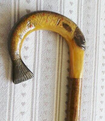 Antique Carved Fish Handled Walking Stick - Horn Carved Trout From A Rams Horn