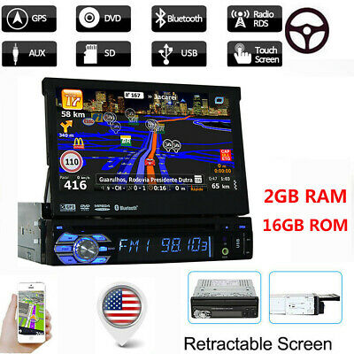 Android 9.1 1080P HD Car Radio 1 DIN Stereo MP5 Player Retractable GPS  FM/AM