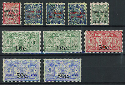 New Hebrides 1908-1924 lot of mint and used stamps from the first issue, inspect