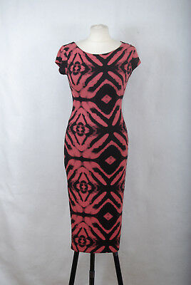 L174 70 Cameo Rose Psychedelic Pattern Pink Black Sexy Bodycon Dress 6357044a7
