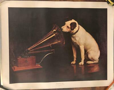 Vintage 1960s HMV His Masters Voice Gramophone Nipper Record Shop poster rare