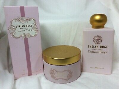 "Crabtree & Evelyn ""Evelyn Rose"" 3 Pc Set Body Lotion Shower Gel Body Cream New"