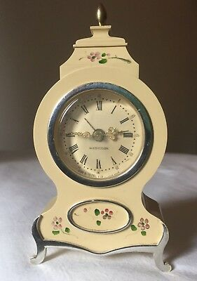 Vintage Working WESTCLOX Alarm Clock Hand Winding Cream 'Grandfather' 13cm Tall