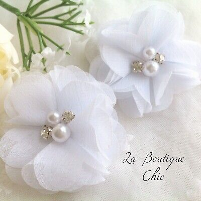 White Pearl Crystal Baby Flower Hair Clips [2] Baby Girl Wedding Baptism Party