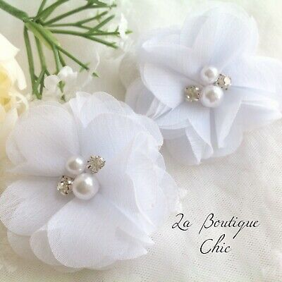 White Pearl Crystal Girl Christening Baptism Wedding Bridesmaid Bride Hair Clips