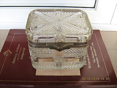 Rare crystal glass A. Gubkin & A. Kuznetzov tea caddy,1902 year,Nicholas Romanov