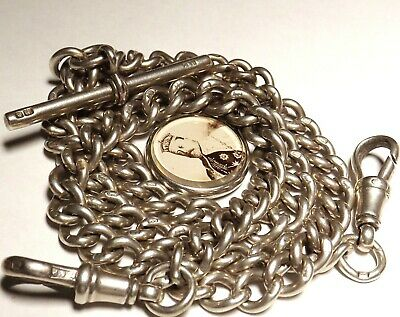 Antique Solid Silver 1901 Edward Vii Albert Watch Chain Rare Royal Accession Fob