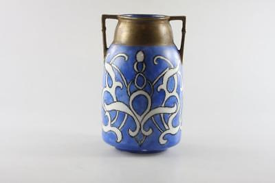 Antique Art Deco Hand Painted Blue Vase