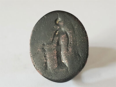 Ancient Greek Bronze Seal Ring With God 500-400 Bc