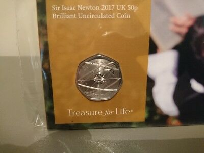 Rare 2017 Sir Isaac Newton 50P Coin Very Low Mintage.