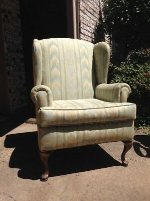 Green Teal Acceny Chair Wing Back Vintage