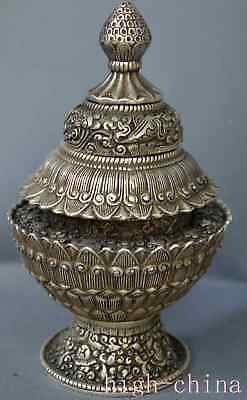 Collectable Miao SIlver Lotus Old Tibetan Totem Tower Art Ancient Incense Burner