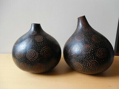 Two, Vtg. Collectable, Quirky Dried Calabash Gourd Ornament/Vase, African Art