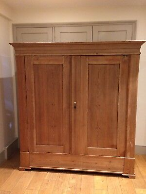 Victorian Pine Large Wardrobe Armoire Haberdashery Bedroom Vintage Salvage 6 Ft