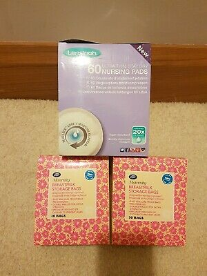 Lansinoh breast pads And Boots Breast Milk Storage Bags