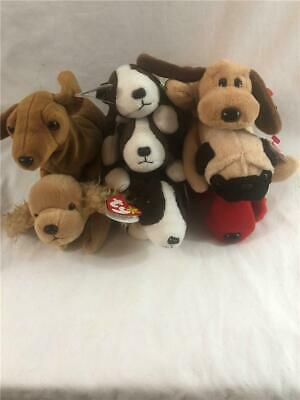 954c40bdc41 Ty Beanie Baby Dog Lot of 8 Weinie Bruno Bones Pugly Rover Spunky with Tags