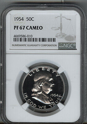 1954 FRANKLIN Half - NGC  PROOF PF 67 CAMEO - DEEP MIRRORS - CLOSE TO DEEP CAMEO