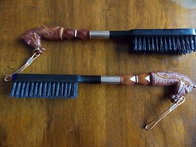 Vintage Horse Head Valet/clothes Brushes Lot Of 2 Plastic Hong Kong