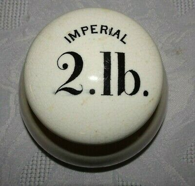 RARE Vintage 1900's Advertising Avery 2lb IMPERIAL CERAMIC Grocers Scale Weight