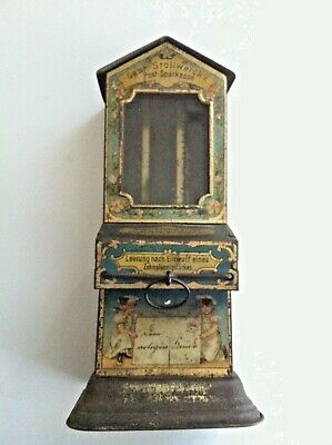 Antique German STOLLWERK TIN TOY Chocolate Vending BANK 1890 Candy No Reserve
