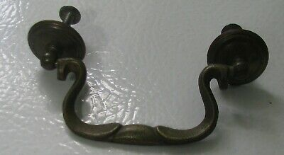 """One Vintage antique solid brass drawer pull knob drop stamped """"A12"""" ~ 3"""" bore"""