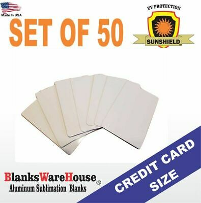 50 Pieces CREDIT CARD SIZE - BUSINESS CARDS - ALUMINUM  SUBLIMATION BLANKS