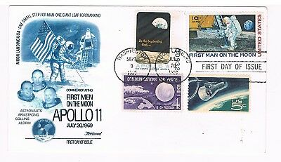 APOLLO 11 First Men On The Moon - First Day Of Issue, Fleetwood 1969
