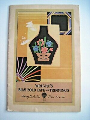 """Vintage """"Wright's Bias Fold Tape & Trimmings"""" Ad Booklet w/ Sewing Projects *"""
