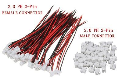 10 pairs Mini Micro JST PH 2.0mm  2Pin, 10 FEMALE W. Cable & 10 MALE Connector.